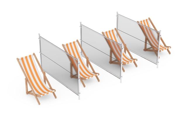 Sociale afstand op het strandconcept. beach relax chairs met glazen voeringen op een witte achtergrond. 3d-rendering