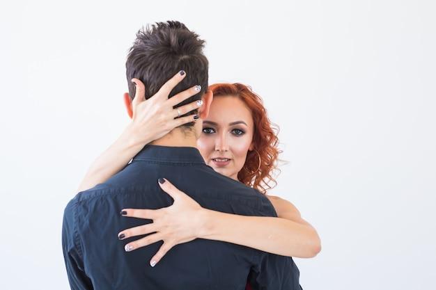 Sociale dans, bachata, kizomba, salsa, tango concept - close-up portret van vrouw man gekleed