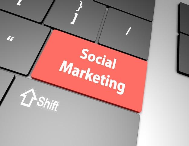 Sociale marketing op de toets op het toetsenbord van de computer, raster