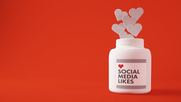 Sociale media houden van 3d-rendering
