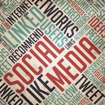 Sociale media in rode en blauwe kleur. vintage wordcloud-concept.