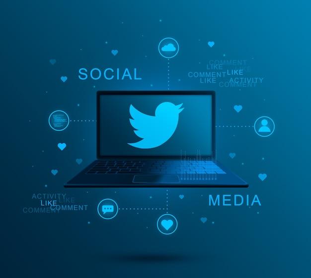 Sociale mediapictogram twitter op laptopscherm