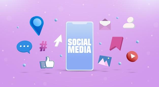 Sociale netwerkpictogrammen met een smartphone social media marketingconcept 3d