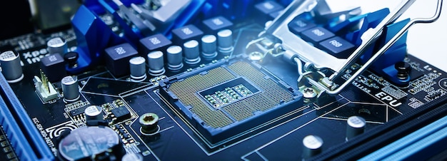 Socket voor het moederbord met licht computeronderdelentechnologische achtergrond