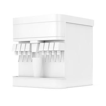 Soda frisdrank dispenser mockup met vrije ruimte voor uw ontwerp in clay-stijl op een witte achtergrond. 3d-rendering