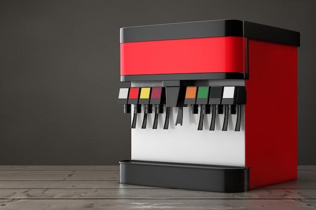 Soda frisdrank dispenser mockup met vrije ruimte voor uw ontwerp op een houten tafel. 3d-rendering