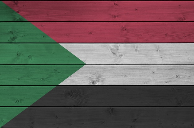 Soedan vlag op oude houten muur