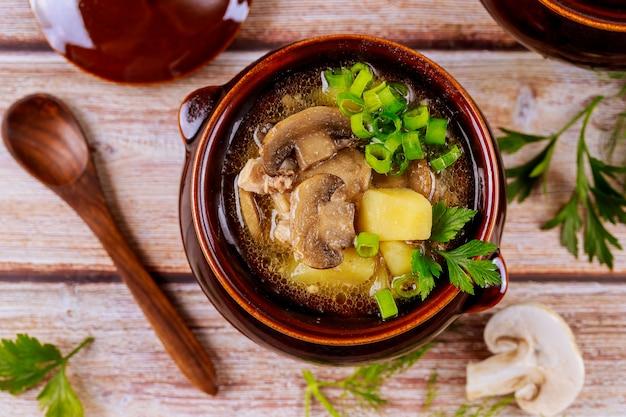 Soep met aardappel, champignons en vlees in aarden pot