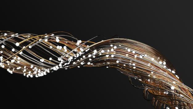 Soepel stromende deeltjes zwermen met gloeiende gouden sporen. warme en koude kleuren.