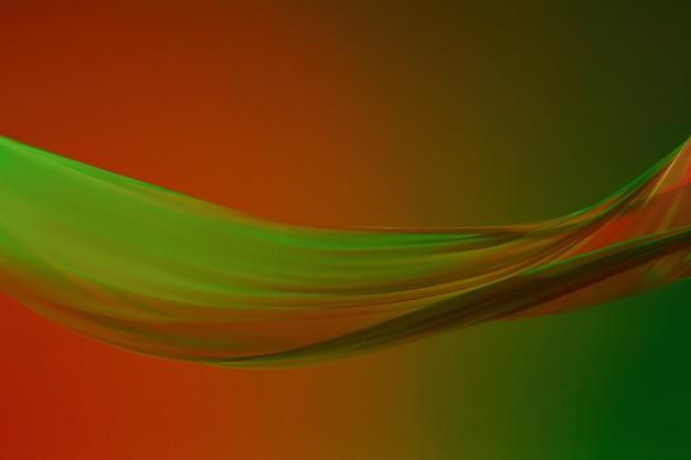 Soepele elegante transparante groene doek op groen gekleurde achtergrond.