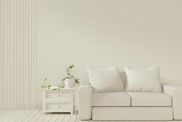 Sofa en decoratie planten in de woonkamer met witte muur.