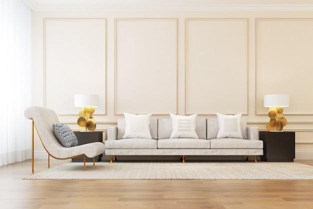 Sofa in europese stijl eenvoudig binnenhuis