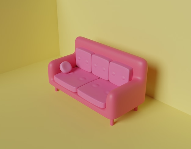 Sofa roze abstract 3d render.