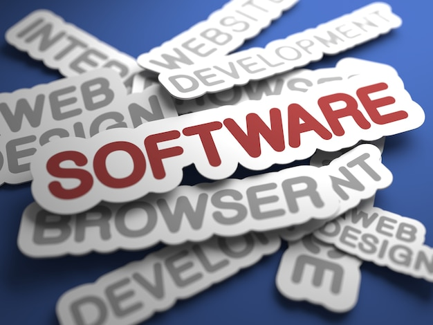 Softwaretekst met selectieve aandacht. 3d-weergave.