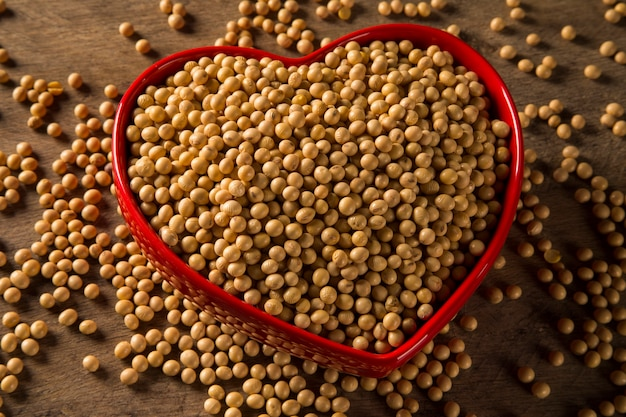Sojabonen in een hartpot
