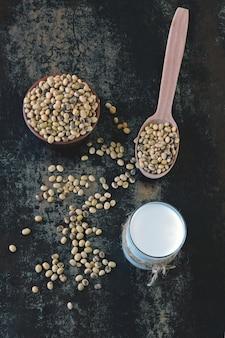 Sojamelk en sojabonen. veganistische melk