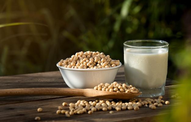 Sojamelk koel en sojabonen op houten tafel
