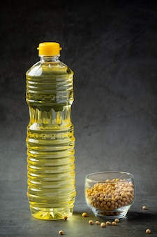 Sojaolie sojabonenvoedsel en drankproducten voedselvoeding concept.