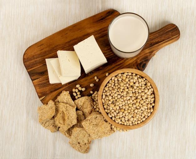 Sojaproducten geplaatst bovenaanzicht