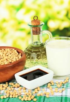 Sojaproducten op tafel over intreepupil aard