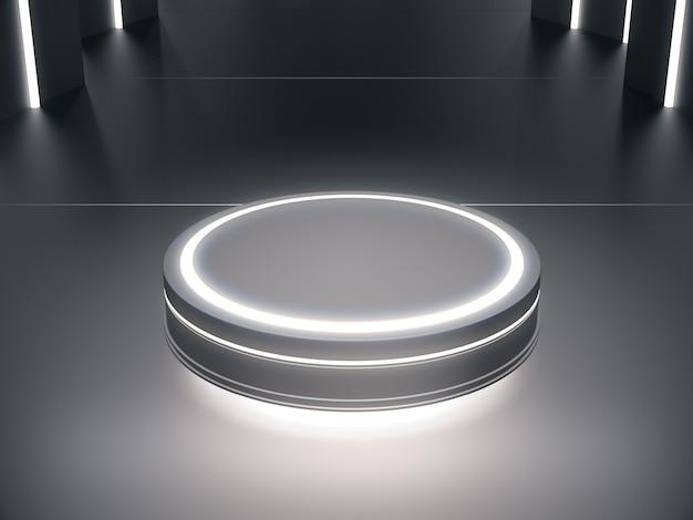 Sokkel met lichte gloed voor productpresentatie op futuristische kamer.