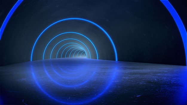 Sokkel voor weergave, platform voor ontwerp, lange donkere tunnel met futuristisch licht. 3d-weergave