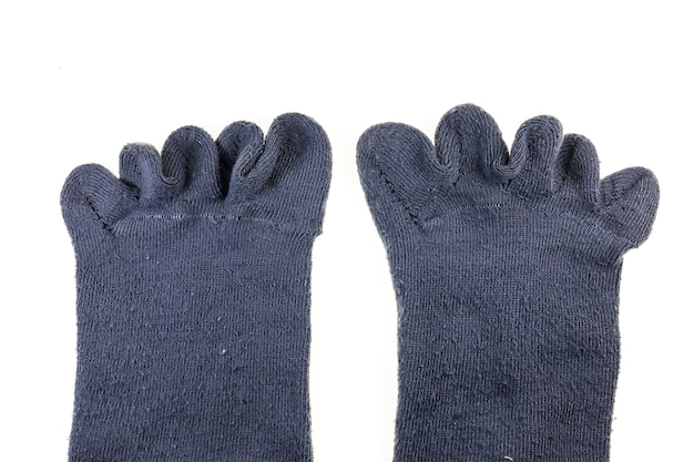 Sokken met oude vingers geïsoleerd op wit