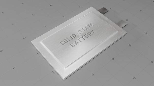 Solid-state batterijpakketontwerp voor conceptillustratie van elektrisch voertuig (ev), 3d-rendering van nieuwe onderzoeks- en ontwikkelingsbatterijen met vaste elektrolyt-energieopslag voor toekomstige auto-industrie