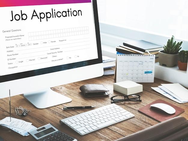 Sollicitatie verhuren document form concept