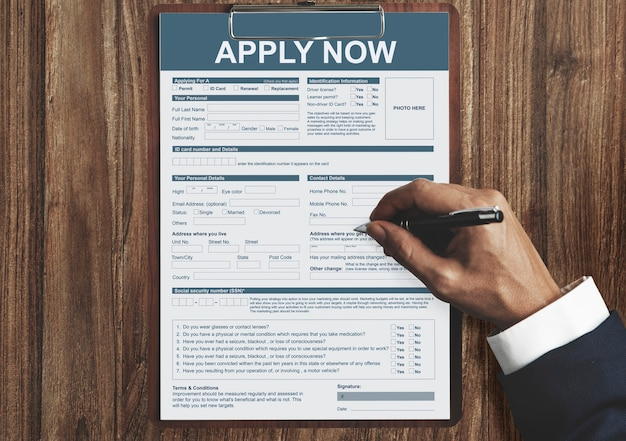 Solliciteer nu formulier informatie job concept