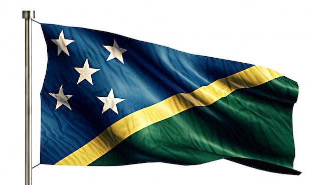 Solomon islands national flag geïsoleerde 3d witte achtergrond