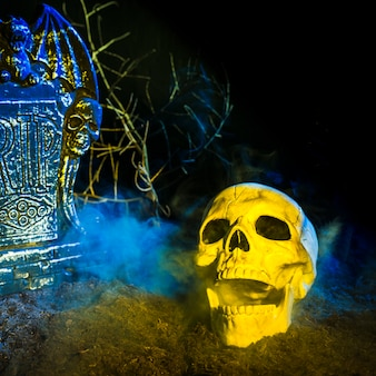 Sombere lachende schedel dichtbij grafsteen op grond