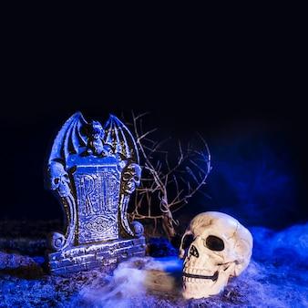 Sombere schedel dichtbij grafsteen op grond