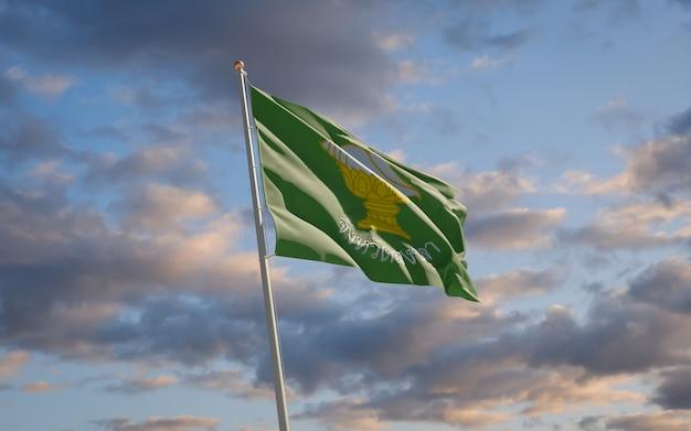 Songkhla thailand provincie vlag. 3d-illustraties