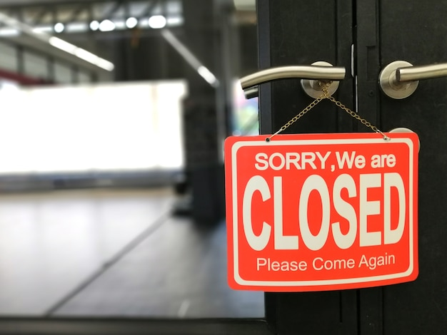 Sorry we zijn gesloten deur bord