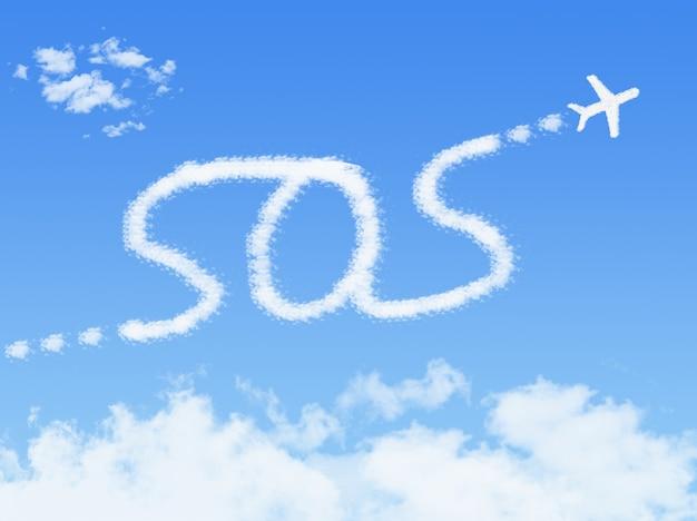 Sos-bericht door wolk op blauwe hemel