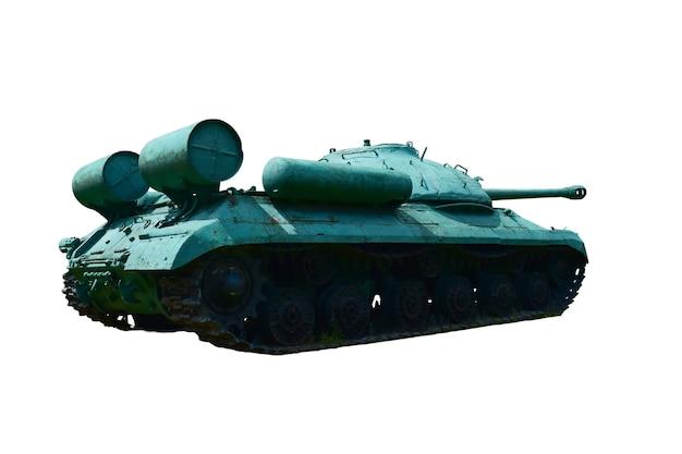 Sovjet zware tank uit de tweede wereldoorlog gefotografeerd halfzij en achterkant tegen een wit knippend achtergrondgeluid