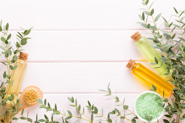 Spa achtergrond met een ruimte voor een tekst. spa wellnes wenskaart. aromatherapie thema, handgemaakte cosmetica