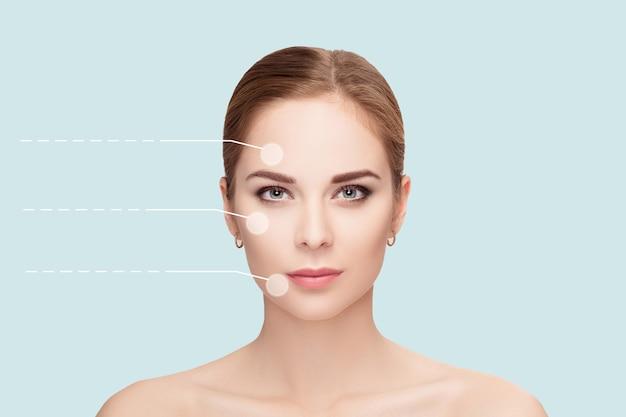 Spa portret van jonge, mooie en natuurlijke vrouw met gestippelde pijlen op haar gezicht op blauwe achtergrond. detailopname. geneeskunde en huidverzorging