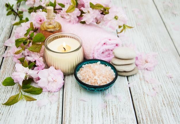 Spa-producten met sakura-bloesem