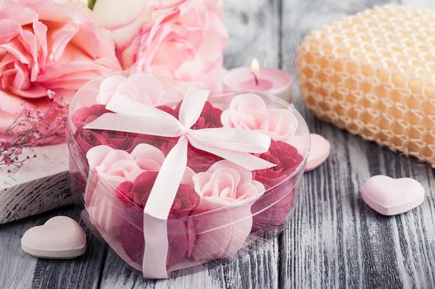 Spa set met rozen, badzeep