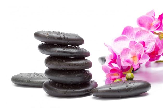 Spa stenen en orchideebloemen, geïsoleerd op wit,