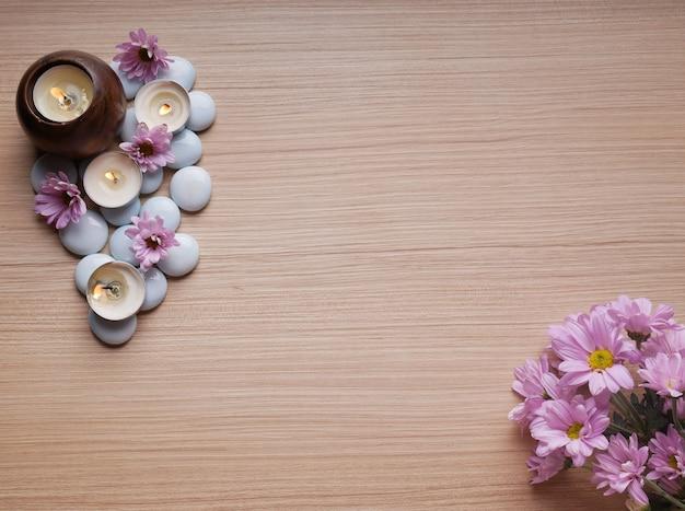 Spa thema concept kaars stenen aard bloem bamboe