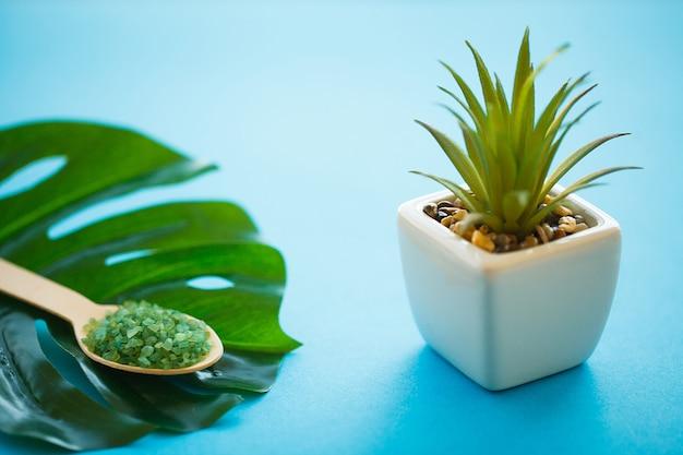Spa. zeezout grind op houten lichtblauwe shabby tafel houten lepel. keuken en cosmetisch gezond gebruik