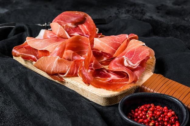 Spaanse jamon serrano, ham., bovenaanzicht