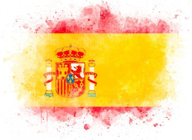 Spaanse vlag op aquarel verf