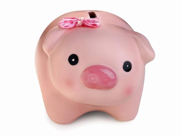 Spaarvarken dat over witte achtergrond wordt geïsoleerd. geldbesparing, huishoudboekhouding, winkelen en inkomensconcept