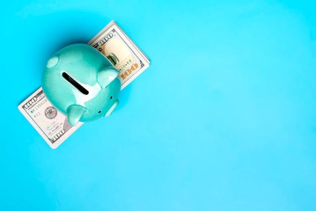 Spaarvarken, dollarsbankbiljet op blauwe achtergrond kopen, verkoop, investeringen, bankwezen, lening, verzekering