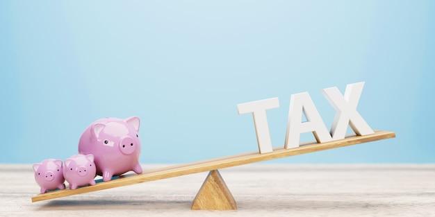 Spaarvarken en belastingbrief op wip. 3d-afbeelding