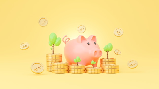 Spaarvarken en gouden muntstuk voor het concept van het besparingsgeld in het 3d teruggeven